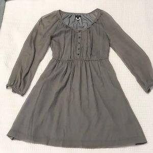 J Crew Maisie Silk Chiffon Grey Dress